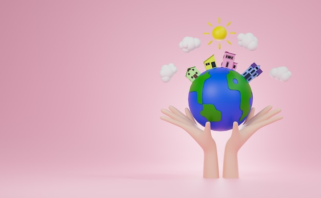 3d rendering hand holding world wiyh four house and tree on world and blue background.  world habitat day concrpt.