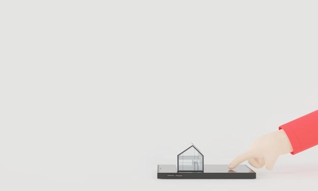 3dレンダリングの手は、スマートフォンを使用して、将来に向けて選択する住宅金融住宅購入者の不動産を選択します