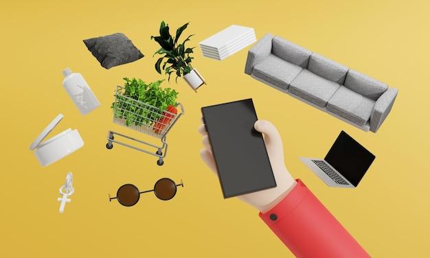 3dレンダリングハンドはスマートフォンを使用してオンラインストアで製品を注文しますマートテクノロジートレンディなガジェット