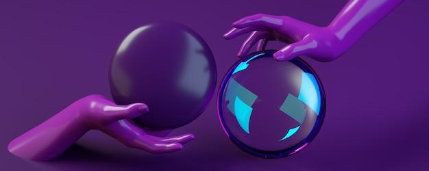 3d rendering of hands holding purple sphere