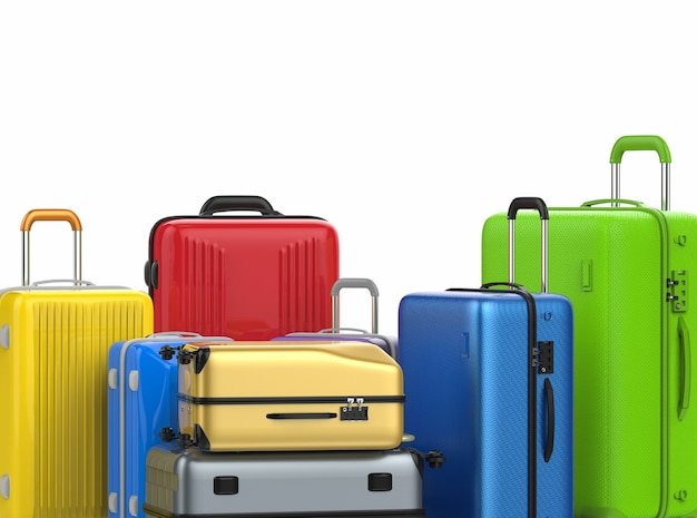 3d rendering hard case colorful luggages isolated on white
