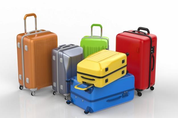 3d-рендеринг жесткого футляра красочных багажа на белом фоне
