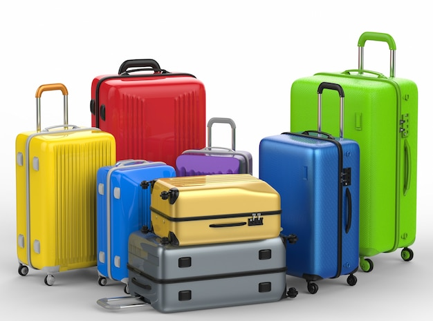 3d rendering hard case colorful luggages on white background