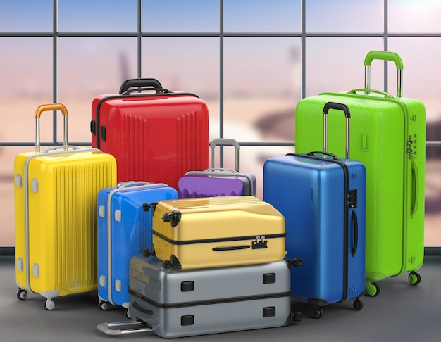 3d rendering hard case colorful luggages with airport background