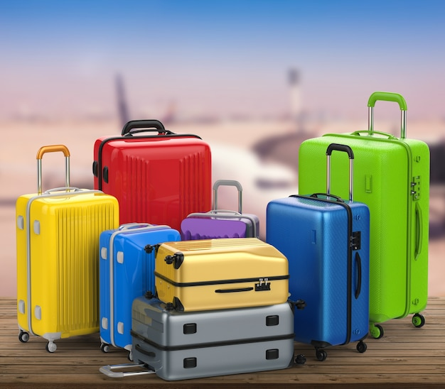 3d rendering hard case colorful luggages with airport terminal background