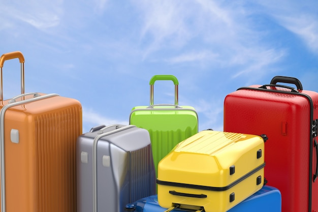 3d rendering hard case colorful luggages with blue sky background
