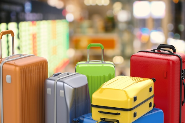 3d rendering hard case colorful luggages