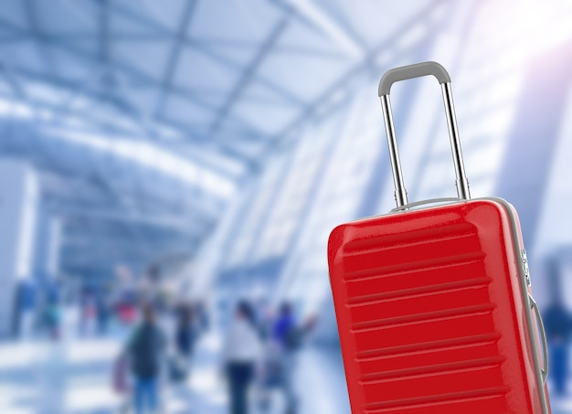 3d rendering hard case luggage with airport background