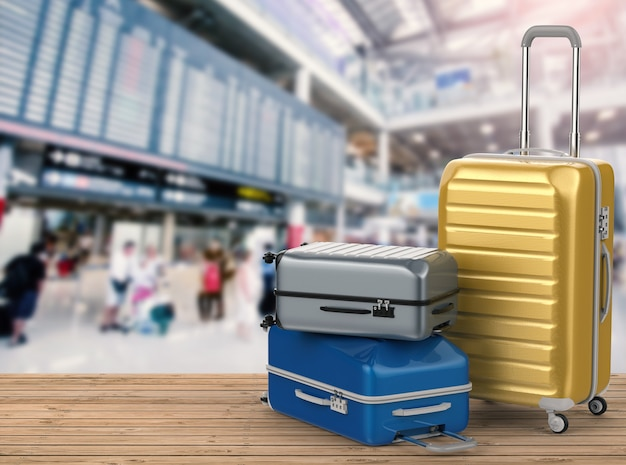 3d rendering hard case luggages with airport background