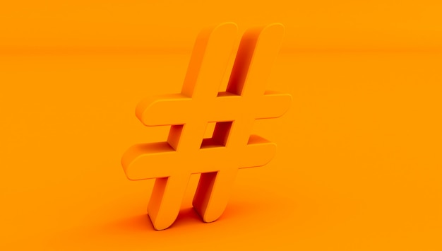 3d rendering of  hashtag icon on colored background.