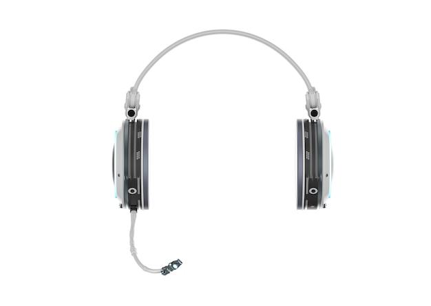 白い背景にマイク付きの3dレンダリングヘッドセットまたはヘッドフォン