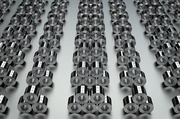 工場で鋼板のロールの3dレンダリングヒープ