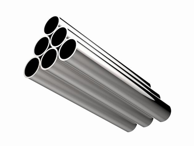 3d-рендеринг кучи блестящих металлических труб, изолированных на белом