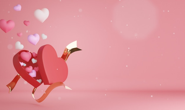 3d 렌더링 마음과 발렌타인 데이에 대한 배경.