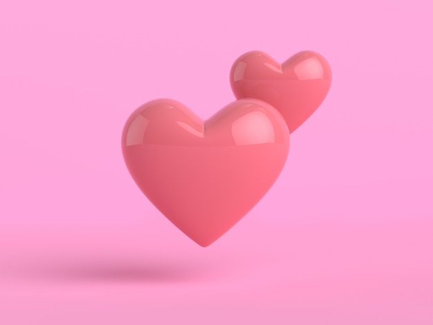 3d rendering heart shape pink background