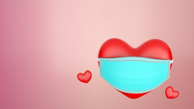 3d 렌더링 심장 모양 마스크 추상 배경으로 붉은 색 발렌타인 하루 개념입니다. covid 19 확산 방지 마스크