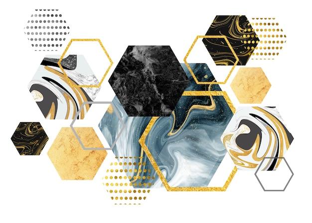 3dレンダリング六角形デザイン。現代の壁画デジタルアート。金色のフレームと白い背景の大理石