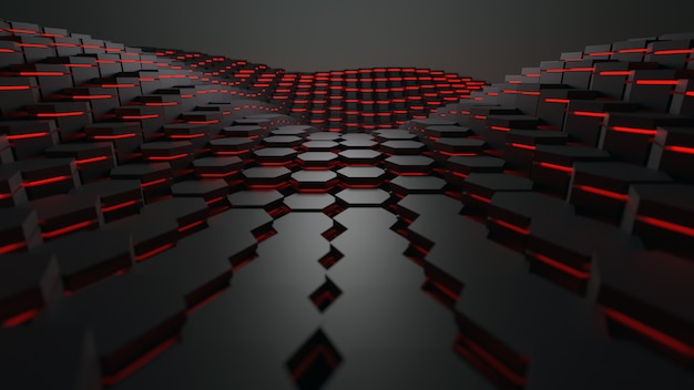 3d rendering hexagon geometric shape with red lighting technology abstract background