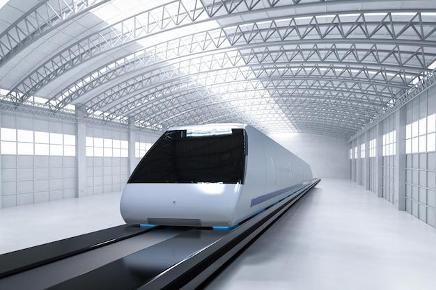 3d-рендеринг высокоскоростного поезда на ремонтной станции