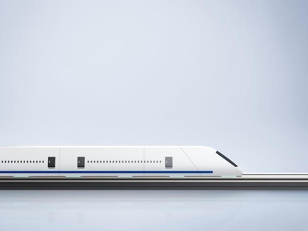 3d-рендеринг высокоскоростного поезда с современным дизайном на белом фоне
