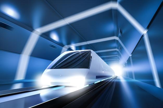 3d-рендеринг высокоскоростного поезда с движением в туннеле