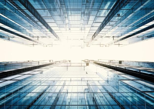 3d рендеринг высотного офисного здания абстрактный фон