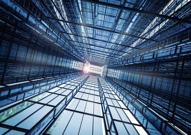 高層オフィスビルの抽象的な背景をレンダリングする3d