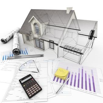 모기지 신청서, 계산기, 청사진 등이있는 테이블 위에 3d 렌더링 홈 아키텍처 모델.