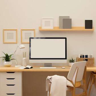 3d rendering, home office room with computer, supplies and decorations, 3d illustration