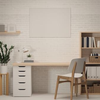 3d-рендеринг, домашний офис с рабочим столом, книжная полка, украшения и стул, 3d-иллюстрация