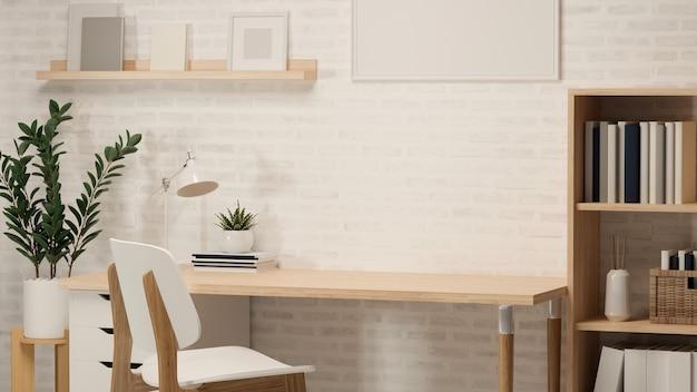 3d-рендеринг, комната домашнего офиса с рабочим столом, книжная полка, горшок, рамка, другие украшения и стул, 3d-иллюстрация
