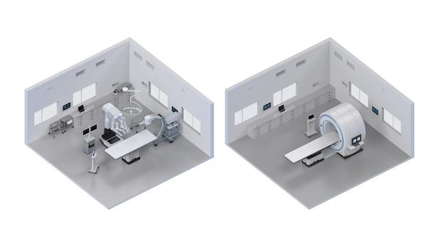 3d-рендеринг интерьера больницы или интерьера лаборатории изометрии