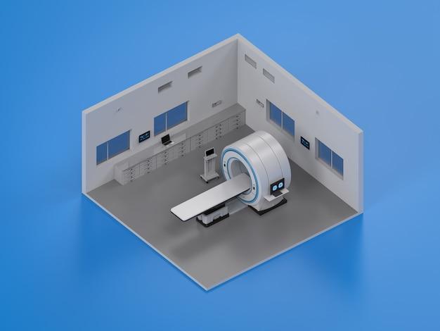 3d-рендеринг интерьера больницы с помощью мрт-сканера изометрической