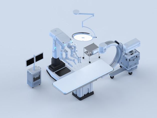 C-armマシンと手術ロボットアイソメトリックを備えた3dレンダリング病院手術室