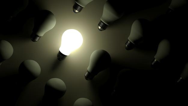 3dレンダリング。暗闇の中で熱い電球。