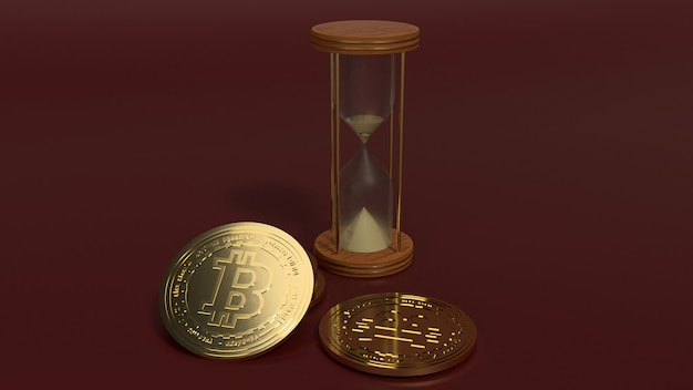 3d rendering hourglasses and bitcoin for cryptocurrency