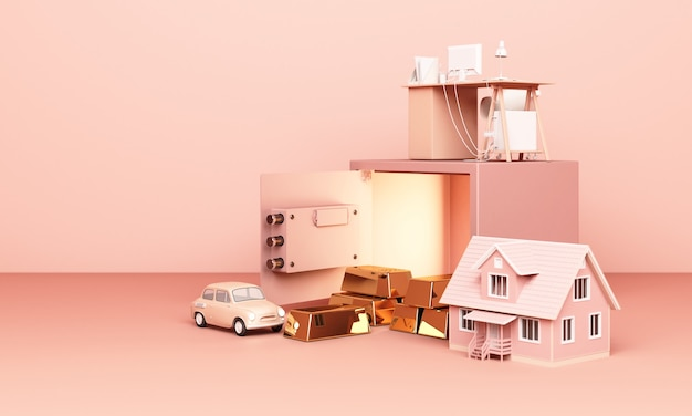 3d rendering house, car and work with an open safe