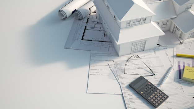 3d rendering of a house mock up on top of a wooden surface with mortgage application form, calculator, blueprints, etc..