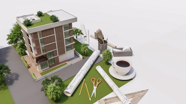 3d rendering of house model illustration