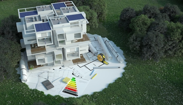 3d rendering  of a house with blueprints, energy charts and other documents in a field
