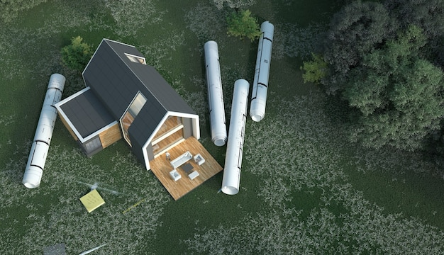 3d rendering  of a house with blueprints in a field