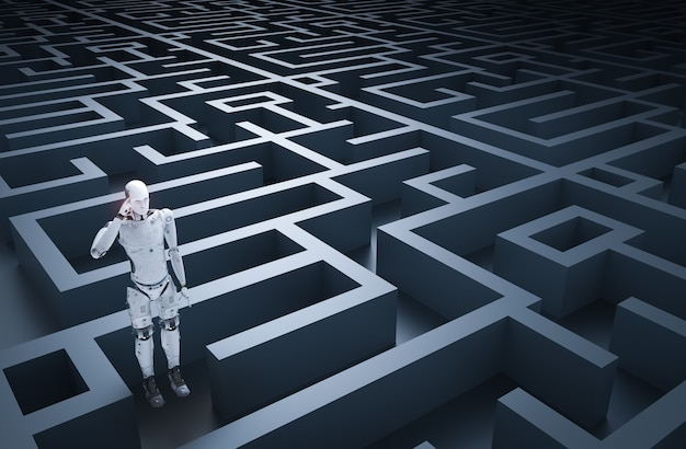 3d rendering humanoid robot analysisi in maze