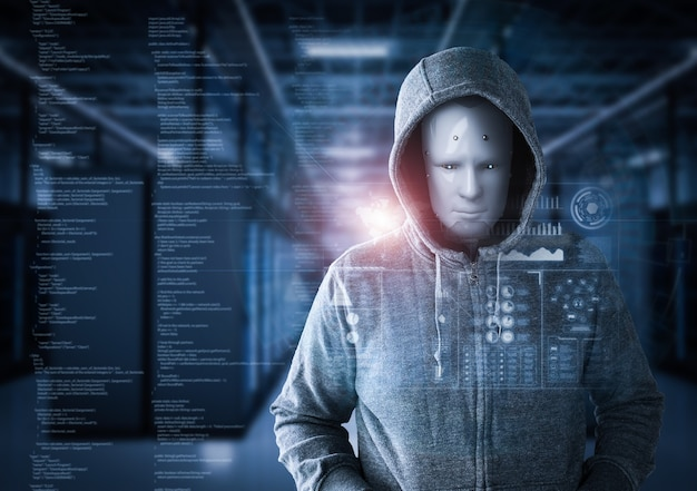 3d rendering humanoid robot as a hacker in server room