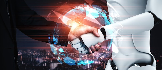 3d rendering humanoid robot handshake to collaborate future technology