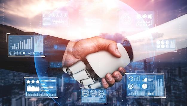 미래 기술 협력을위한 3d 렌더링 휴머노이드 로봇 악수