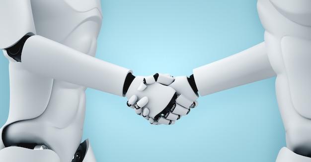 将来の技術と協力するための3dレンダリングヒューマノイドロボットハンドシェイク