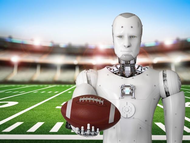 3d рендеринг робота-гуманоида с футбольным мячом