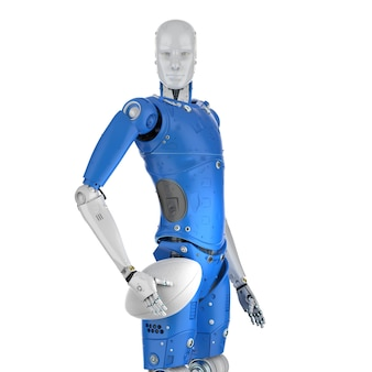 3d rendering humanoid robot holding rugby ball