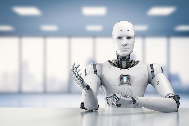 3d-рендеринг гуманоидного робота, сидящего за столом на белом фоне
