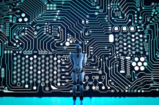 회로 배경으로 3d 렌더링 인간형 로봇
